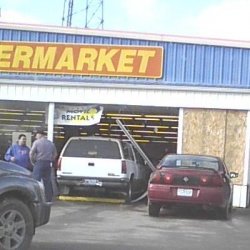 Car crashes through front window of Crocker H&L Supermarket Wednesday