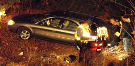 Teen driver careens hundred yards in ravine beside Interstate 44 Monday