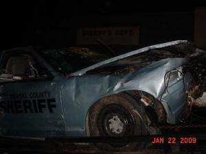 Deputy totals patrol car on Highway 28 near Pointe Steakhouse