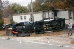 Three-vehicle Highway 28 wreck rolls one vehicle; two hurt