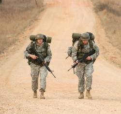 Guard officer candidates learn value of teamwork in ten-mile road march