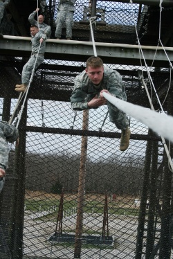 National Guard officer candidates tackle rappelling, rope bridges at FLW