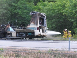 Travel trailer fire slows traffic on Interstate 44 south of Richland